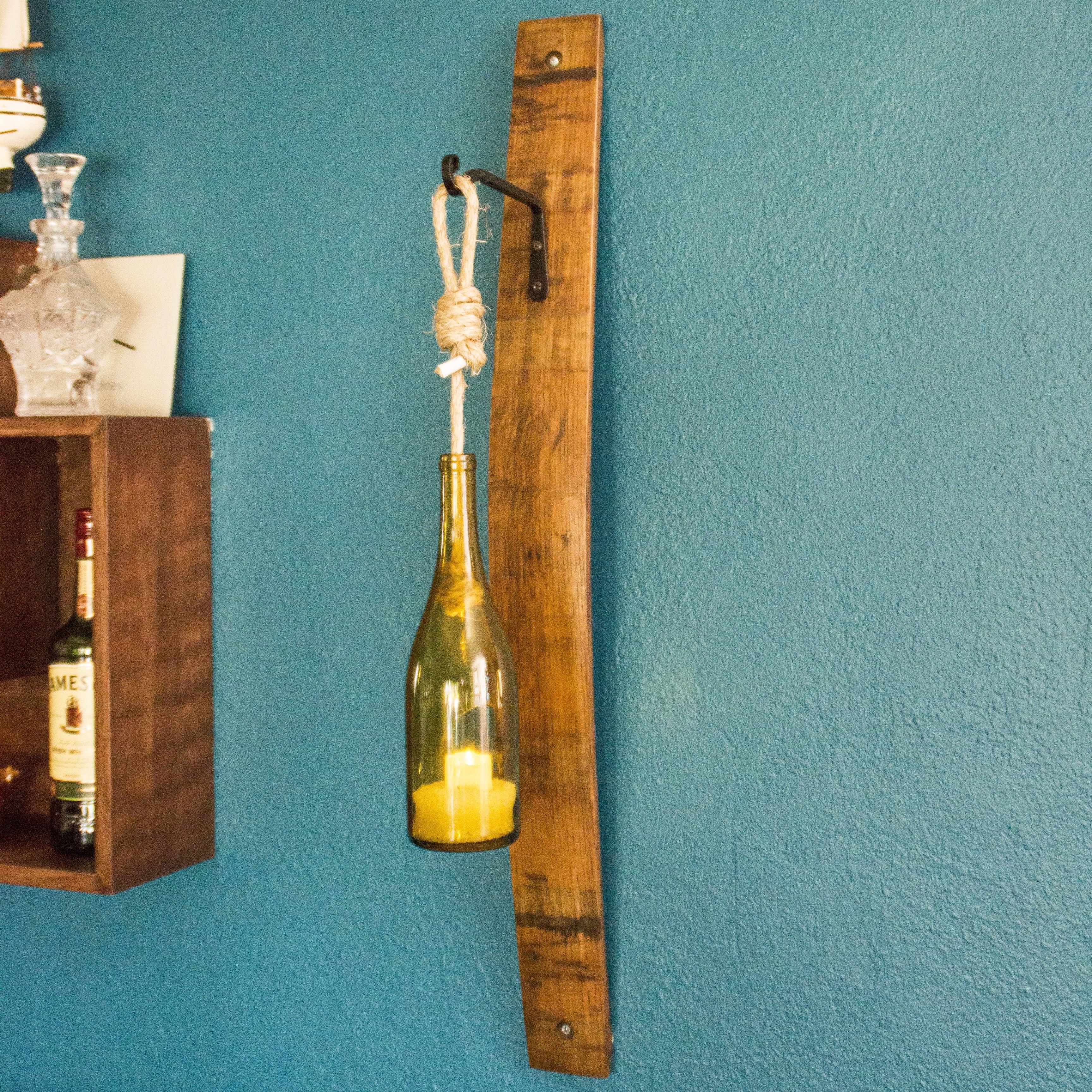 Reclaimed Wine Barrel Stave Sconce with Wine Bottle Lantern - O ...
